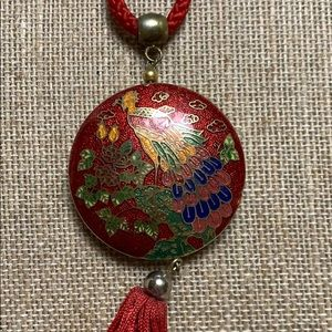 Peacock Pendant on long red rope